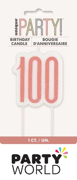 100th Birthday Cake Candle - Rose Gold