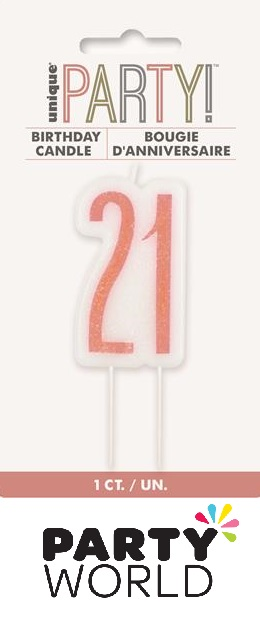 21st Birthday Cake Candle - Rose Gold
