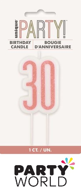 30th Birthday Cake Candle - Rose Gold