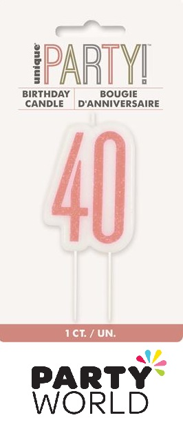 40th Birthday Cake Candle - Rose Gold
