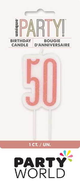 50th Birthday Cake Candle - Rose Gold