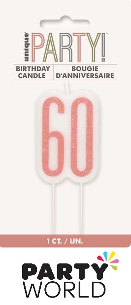 60th Birthday Cake Candle - Rose Gold