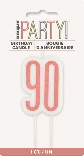 90th Birthday Cake Candle - Rose Gold