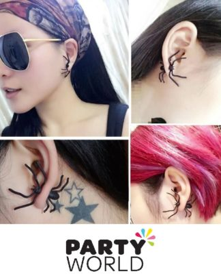 Black Spider Ear Stud Earring