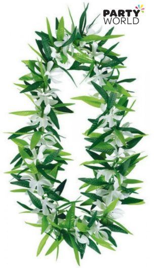 Green Leaf With Flowers Lei
