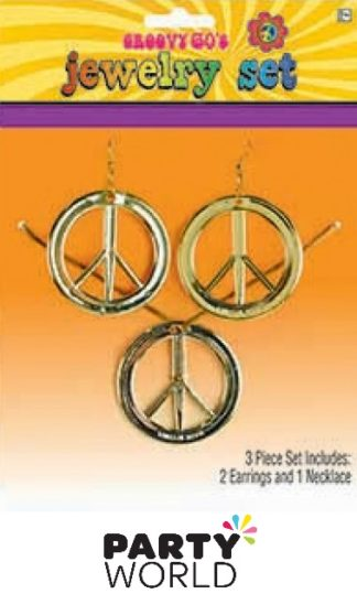 Groovy 60's Peace Sign Earrings And Necklace