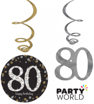 Happy 80th Birthday Hanging Swirls Sparkling Celebration