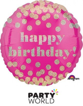 Happy Birthday Dotty Holographic Foil Balloon