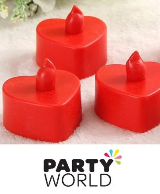LED Red Heart Shaped Flickering Candle