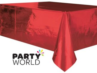 Metallic Red Plastic Rectangular Tablecover