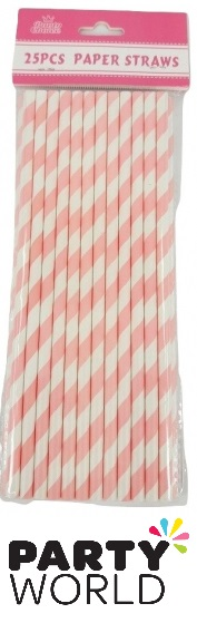 Pink And White Striped Paper Straws (25)