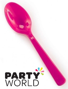 Pink Plastic Disposable Spoons (25)