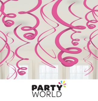 Plastic Swirl Decorations - Bright Pink (12)