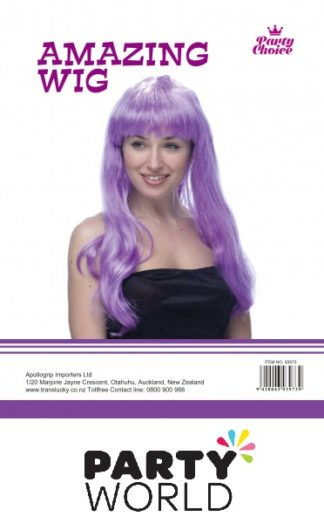 Purple Long Straight Ladies Wig