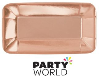 Rose Gold Foil Small Rectangular Paper Plates (8)