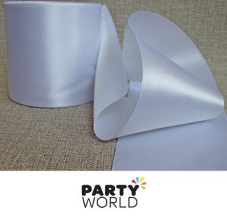White Satin 7cm Wide Ribbon (22.86m)