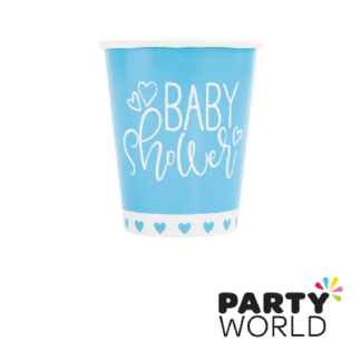 baby shower blue hearts cups