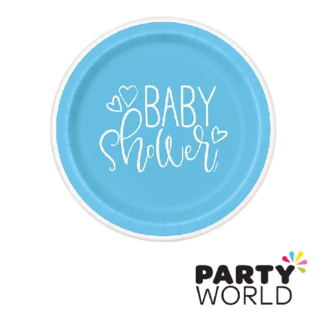 baby shower blue hearts plates