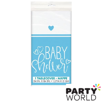 baby shower hearts blue tablecover