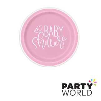 baby shower pink hearts 7in paper plates