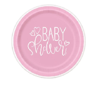baby shower pink hearts 9in paper plates