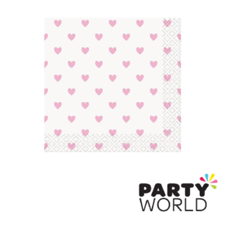 baby shower pink hearts napkins