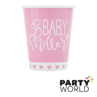 baby shower pink hearts paper cups