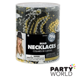 bead necklaces gold silver black