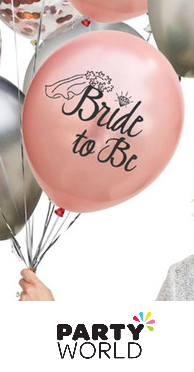 bride to be rose gold balloons with veil