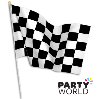 checkered flag on stick