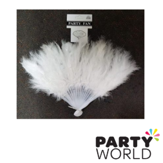 feather party fan white