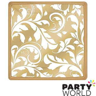 gold elegant scroll plates