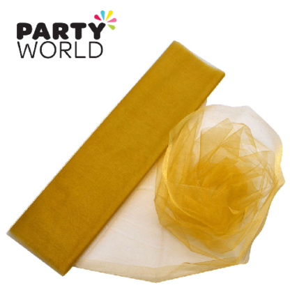 gold organza draping fabric