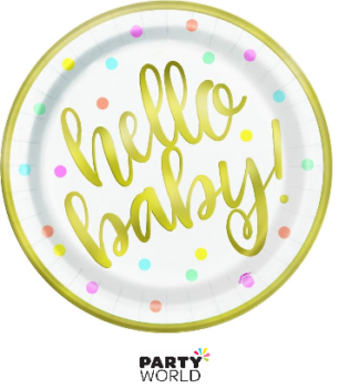hello baby shower plates