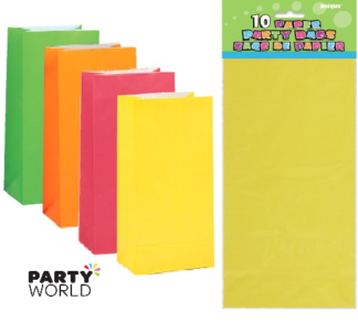 neon assorted paper party bags