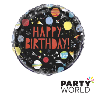outer space happy birthday foil balloon