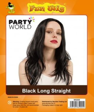 party wig black long hair