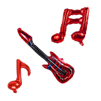 red guitar and music notes foil balloon