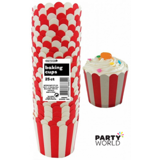 red white stripe baking cups