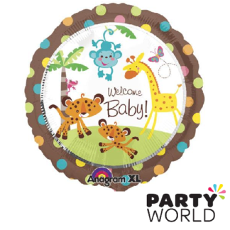 welcome baby animals of the rainforest foil balloon