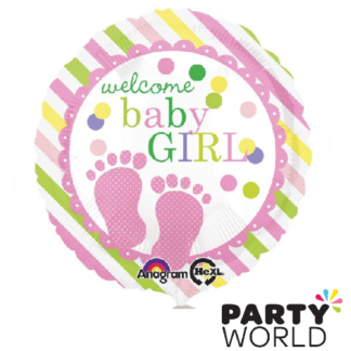 welcome baby girl pick green and yellow foil balloon