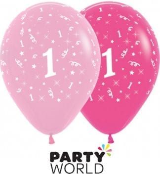 1st Birthday Pink Asstd Latex Balloons (6)