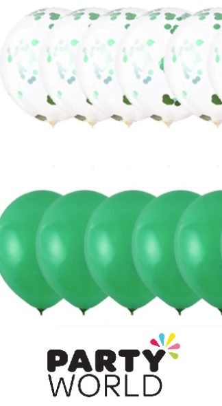 5 Green Plain and 5 Green Confetti Latex Balloons (10)