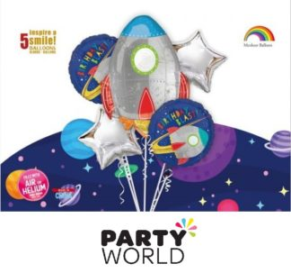Birthday Blast Space Rocket Foil Balloons (5)