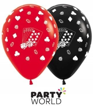 Casino Cards & Suits 30cm Red & Black Latex Balloons (12)