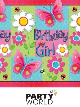 Garden Girl Birthday Paper Tablecover