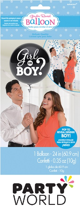 Gender Reveal Girl Or Boy - Boy Balloon With Confetti