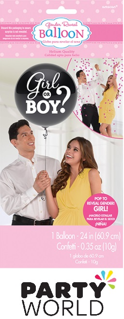 Gender Reveal Girl Or Boy - Girl Balloon With Confetti