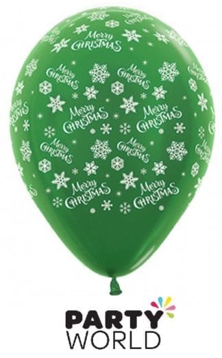 Merry Christmas Snowflakes Forest Green Latex Balloons (6)