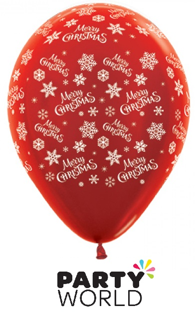Merry Christmas Snowflakes Red Latex Balloons (25)